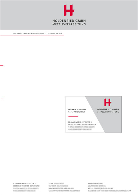 Briefbogen & Visitenkarte Holdenried GmbH