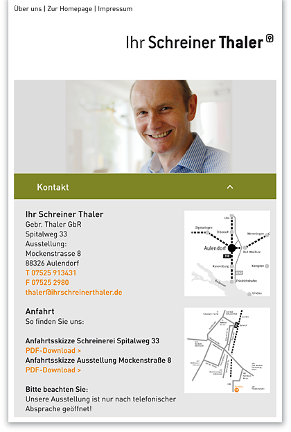Mobile Website – Ihr Schreiner Thaler