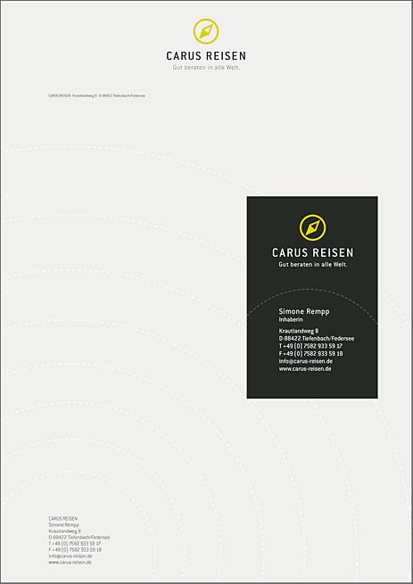 Briefbogen & Visitenkarte Carus Reisen