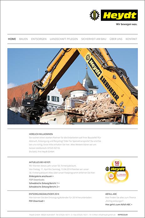 Internetseite Heydt GmbH