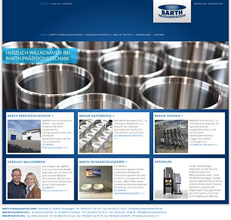 Internetseite Barth Präzisionstechnik