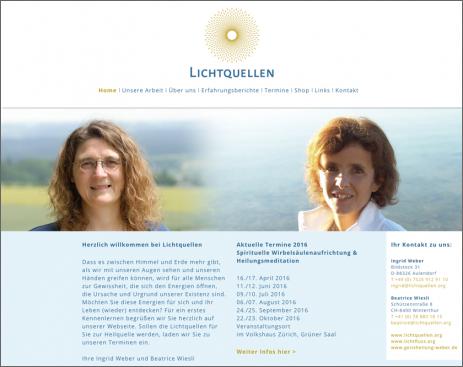 Internetseite Lichtquellen