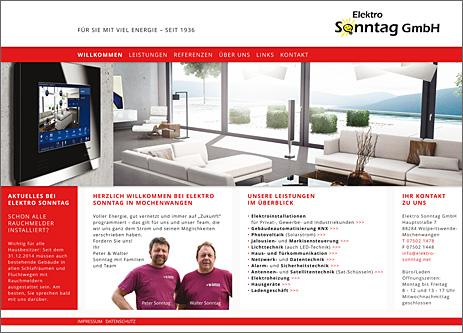 Internetseite Elektro Sonntag GmbH