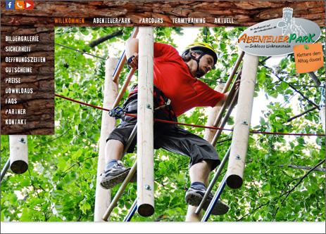 Internetseite Abenteuerpark Schloss Lichtenstein